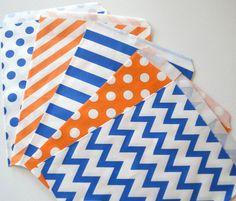 25PK Royal Blue & Orange 5 X 7 Treat Bags // by PeoniesPolkaDots