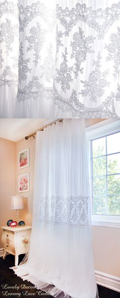 Luxury French Lace Curtain Panel Luxury Double-layered design Decorated with wide embroidery lace. Lace Curtain Panels, Ruffle Curtains, Princess Curtains, Master Bedroom Bathroom, Layered Design, House Windows, French Lace, Living Spaces, Interior Decorating