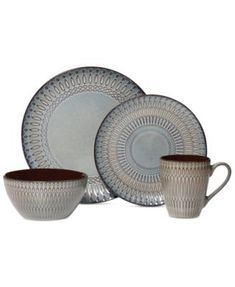 Gourmet Basics by Mikasa Broadway 16-Pc. Set, Service fo r4  $68.99 A geometric pattern with reactive glaze in muted tones on stoneware give a contemporary, yet rustic, feel to the Broadway Collection by Mikasa Gourmet Basics. This is a good starter set with colors that allow for easy mixing-and-matching with other designs.
