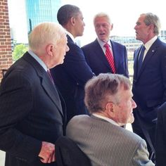 2013 gathering of all the living Presidents: Jimmy Carter, Barack Obama, Bill Clinton, George W. Bush, George H.W. Bush
