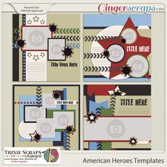 American Heroes Templates by Trixie Scraps Designs - Celebrate all your American Heroes with this super versatile, military-themed digital scrapbooking collection. Whether you have Army, Air Force, Marine or Navy photos to scrapbook, American Heroes has got it covered! There's also plenty of red, white and blue, making this kit perfect for Memorial Day, Independence Day, and other patriotic pages, too. This coordinating set of four 12x12 page templates is offered in TIF/PSD/PNG/PAGE formats.