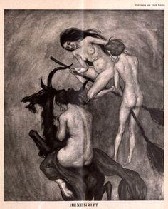 Hexenritt (Witches' Ride), Illustration from Die Muskete magazine, 1926 © Erich Schütz Witches Dance, Satanic Art, Occult Art, Season Of The Witch, Mystique, Vintage Witch, Witch Art, Arte Horror, Illustration