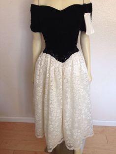 Vintage New Scott McClintock Black Velvet White Lace Prom Dress 6 Formal Wedding