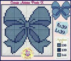 Laço Cross Stitching, Cross Stitch Embroidery, Cross Stitch Patterns, Pixel Art, Pixel Pattern, Cross Stitch Baby, Crochet Chart, Plastic Canvas Patterns, Le Point