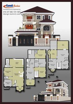 Exterior Designs Komnit khmer in phnom penh cambodia Sims House Plans, Dream House Plans, Modern House Plans, House Floor Plans, Dream Houses, Bedroom Floor Plans, Phnom Penh, Bungalow House Design, Modern House Design
