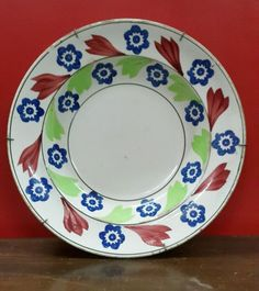 Rare vintage 8 3/4 diameter STICK SPATTERWARE PLATE MADE IN ITALY .