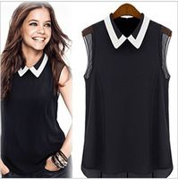 CALIENTE !!! Nuevo 2014 Mujeres camiseta de la gasa de la marca de fábrica del verano del resorte de la blusa ocasional de la camisa Turn- down Collar Moda sin mangas de la camisa