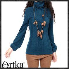 Artka для женщин Винтаж Стиль изящные тонкие водолазки пуловеры, цветы полный рукав фонарик зимний свитер YB15435D