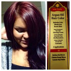Yay for fall hair color! :) One 'n only Argan oil hair color 4R. With 30 volume cream developer.