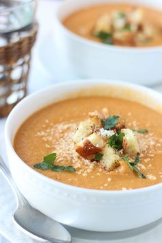 Red Pepper Soup recipe with Roasted Garlic and Cauliflower from Cooking For Keeps. This soup hits all the right spots for a delicious and flavour-full meal.