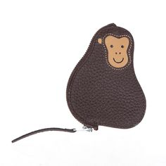 Hermes Animal Monkey coin purse in coffee togo leather Palladium hardware