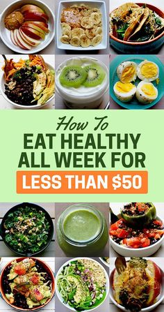Here's How To Eat Healthy All Week For Less Than $50: some really tasty looking vegetarian recipes in here!