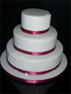 Three tier stacked wedding cake from The River Cake Company - The River Cake Company