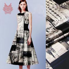 Find More Fabric Information about 2015New fashion black/white Romantic Paris digital print spandex/silk fabric for dress,Cheongsam,suit  19mm free ship SP1329,High Quality fabric label,China fabric laser cutting machine price Suppliers, Cheap fabric hose from Sproat Textile Factory Outlet on Aliexpress.com