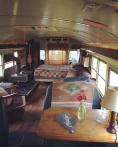 #willsschoolbus is all set for today's #Airbnb guests who happen to be fans of our Instagram!  Can't wait to meet them and share our lifestyle! #skoolie #schoolbusconversion