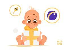 Little kid and Big Gift Vector Character Design Illustration