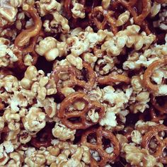 Caramel pop corn and pretzels