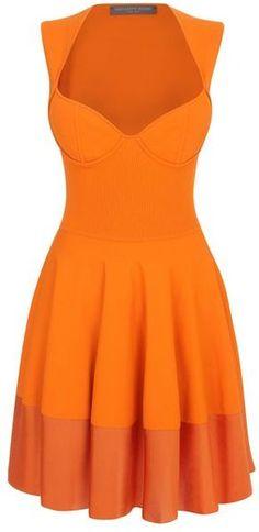 Great color. Alexander McQueen Orange Exposed Bustier Minidress
