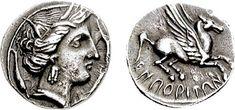Moneda griega (dracma) acuñada en Ampurias.