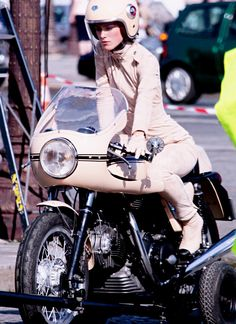 Keira Knightley and a Ducati 750SS for Chanel - Ruby Helmets available at gpmotorcycles.com
