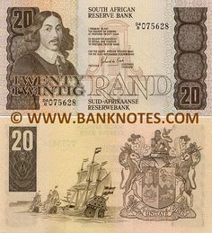 """South Africa 20 Rand (1978-1993) Obverse: Portrait of Johan Anthoniszoon """"Jan"""" van Riebeeck (21 April 1619 – 18 January 1677); Architectural entrance façade detail of Groot Constantia historic wine estate (Est. 1685) in underprint. Reverse: Sailing ships in the Atlantic Ocean in front of the Table Mountain (Cape Town, Western Cape Province); Coat of Arms depicting a lion, springbok and oryx (gemsbok)."""