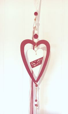 heart hanger valentines decor - wood heart hanger - wooden hearts - valentine hanger - heart hanger decor - valentines supply - window decor by BsCozyCottageCrafts on Etsy