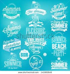 Retro elements for Summer calligraphic designs | Vintage ornaments | All for Summer holidays | tropical paradise, sea, sunshine, weekend tou...