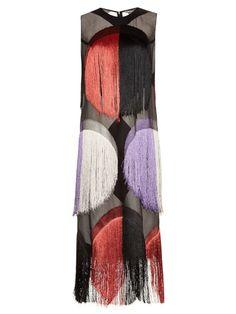 Marco De Vincenzo Fringe-embellished organza sleeveless dress | Shop now at #MATCHESFASHION
