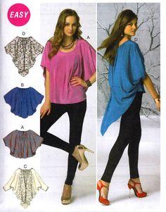 McCalls Sew Pattern 6652 Kimono Dolman Sleeve Draped Cocoon Top L-XL-XXL Plus #McCalls #SewingPattern