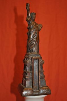 "Vintage Souvenir Metal Building Statue of Liberty with Thermometer Space 7"" tall"