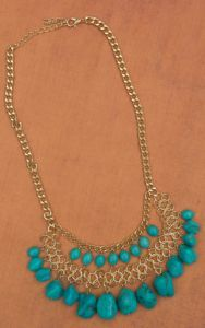Pannee Gold Mesh & Turquoise Drops Necklace | Cavender's