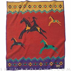Collectible Celebrate the Horse Pendleton Blanket based on a Blackfoot design celebrating Plains Indians and their skill as horsemen