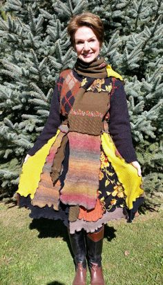 Autumn Hued Upcycled Sweater Coat by WearableArtbyDenise on Etsy