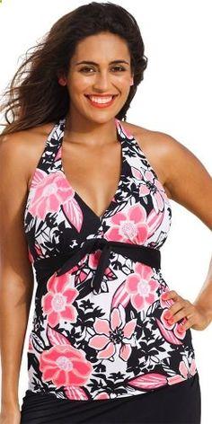 Shore Club Womens Plus Size Rosewood Tie Front Halter Tankini Top Multi. Check website for more description.
