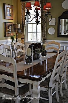 Dining Room. I have the same chandelier in my dining room only difference is my furniture is black & cherry wood. The color on the wall is beautiful. If any one can tell me the name, much appreciated.