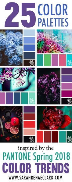 Color palettes inspired by the PANTONE color trend predictions for Spring 2018 – Use these color schemes as inspiration for your next colorful project! Find more color palettes, mood boards and schemes at www.sarahrenaecla… by leila - Color Palette For Home, Colour Palette 2018, Purple Color Palettes, Spring Color Palette, Spring Colors, Interior Color Schemes, Paint Schemes, Colour Schemes, Wedding Color Schemes