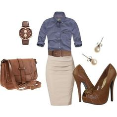 Navy three quarter sleeve shirt and cream pencil skirt...so CUTE!