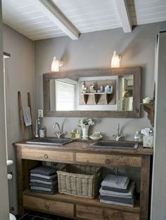 125 Brilliant Farmhouse Bathroom Vanity Remodel Ideas (83)