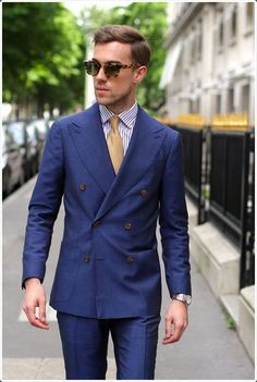 Grab a boy next door look with a double breasted suit.