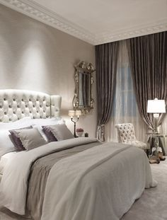 LOVE THIS ROOM, just add a snow white faux fur throw to this bed and maybe add romance with a fireplace my next bedroom!