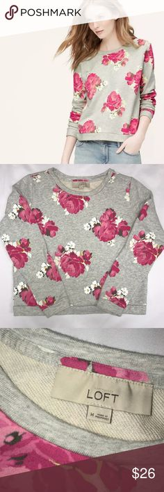 "Ann Taylor Loft Grey Crewneck Floral Sweatshirt Bust 21"" Length from shoulder down 21"" Sleeve length from shoulder down 23"" Ann Taylor Tops Sweatshirts & Hoodies"