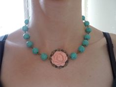 Beadwork Choker Necklace, Blue Turquoise Necklace, Pink Flower Necklace, Antique Bronze Filigree Necklace, Ball Beads Necklace, Gift for Her