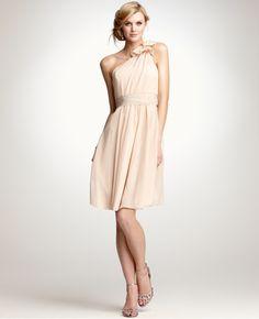 "interestingly similar bridesmaid dress from ann taylor ""light coral"" silk, one-shoulder bow, sash at waist"