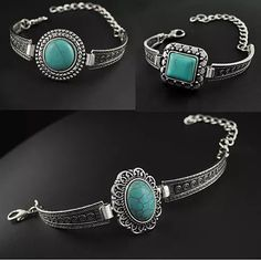 The Vintage Silver appearance of these distinct White metal Watch style Bracelets make them look Well Travelled and very very endearing.. The Turquoise color Cabochons serve as a focal pointsfor these handwroughtTribal Medallions and bands designed with symbols of Greek Keys and Circles of Life which make them far more intriguing to look at .. Wear them solo or stack them with other pieces you have and they will go well together like Well Travelled things always do.. Details:   Center…