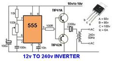 Electrical Engineering World: 12 Volts to 240 Volts Inverter Electronic Circuit Design, Electronic Engineering, Electrical Engineering, Chemical Engineering, Electronics Components, Electronics Gadgets, Electronics Projects, Electronics Storage, Electrical Circuit Diagram