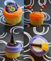 Halloween fondant cupcake toppers by Little Sugar Tops.  #cupcakes #halloween #fondant #toppers #cake