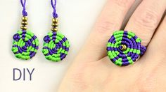 Multicolored Macrame Ring and Earrings #Macrame #Ring #Earrings #Jewelry #Tutorial