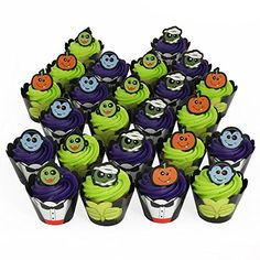 Halloween Monster 24 Reversible Cupcake Wraps and 24 Cupcake Topper Rings Bakery Crafts http://www.amazon.com/dp/B00MUZAZFS/ref=cm_sw_r_pi_dp_q5upub186262Q
