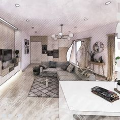 Exciting to see this project evolve from model to construction. Interior Styling, Interior Design, Scandinavian Style, Living Room Designs, Woodworking, Sketches, Construction, House Design, Projects