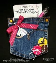 Blue Jeans Pocket Kühlschrankmagnet - Fabric Crafts To Sell Jean Crafts, Denim Crafts, Kids Crafts, Arts And Crafts, Diy Projects To Try, Craft Projects, Artisanats Denim, Denim Purse, Fabric Crafts